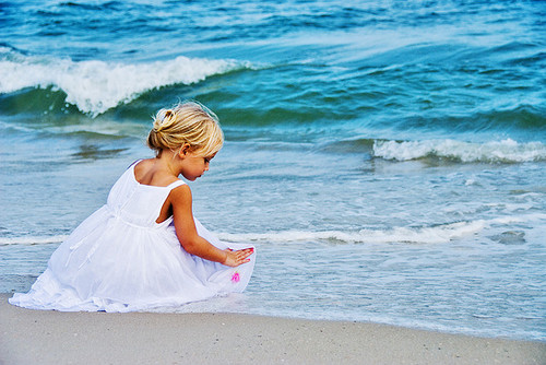 baby, beach, girl, marith, playing