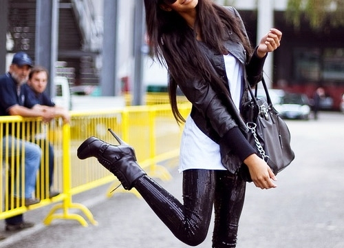 bag, beauty, black, boots, brunette, chanel iman, fashion, fun, girl, hair, heels, hot, leggins, long hair, model, photography, sequins, sexy, sunglasses, woman
