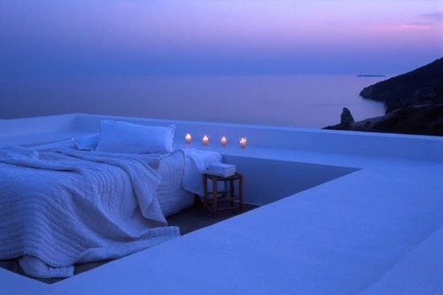 balcony, bed, blue, calming, candles