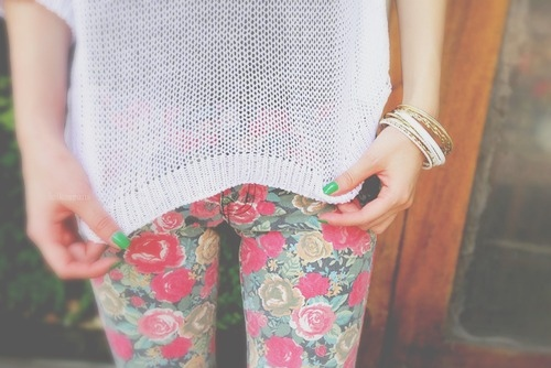 bangles, bracelets, fashion, floral, gold, green, jeans, nail polish, pretty, white