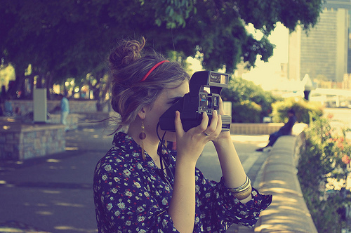 beautiful, brunette, camera, cute, fashion