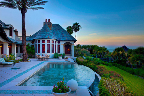 beautiful, hill, house, infinity pool, interior design