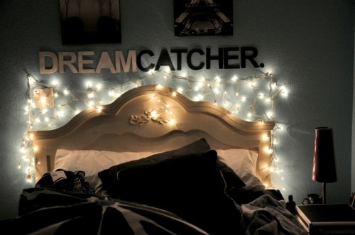 bed, bedroom, dream catcher, lights, photograph