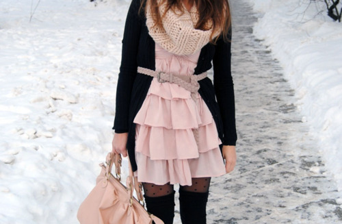 belt, cute, dress, fashion, frilly, girl, pink, purse, ruffles, snow, winter
