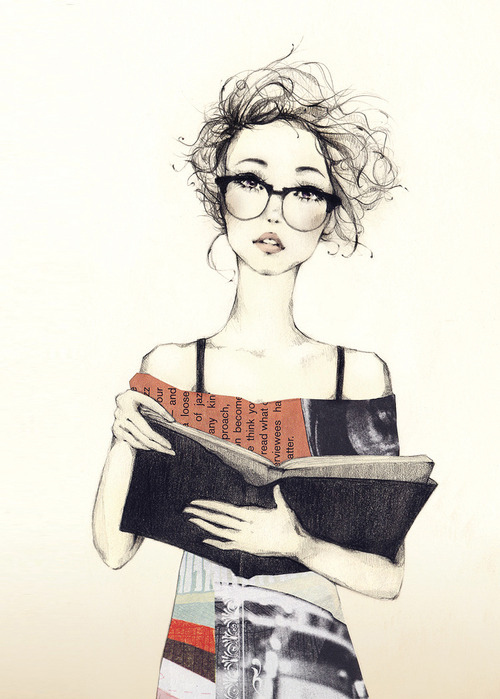 book, cute, girl, glasses, louise ebel
