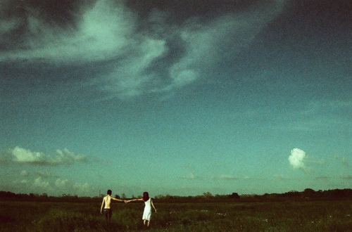 boy, clouds, dress, girl, green, hands, heaven, holding hands, love, nature, vintage