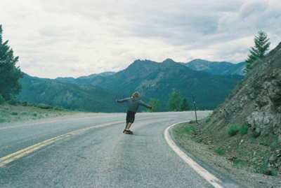 boy, mountains, skateboard, street