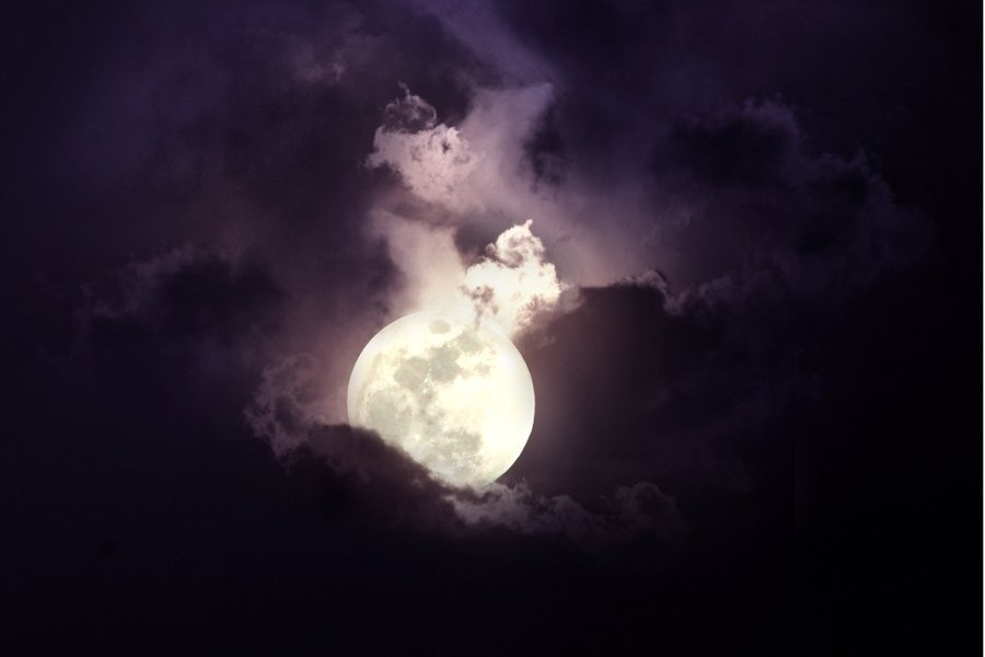 calm, clouds, dark, light, moon
