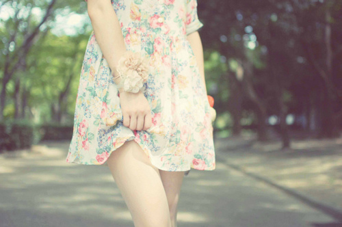 dress, floral, flowers, pretty, vintage