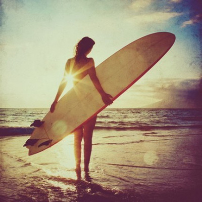 girl, sea, separate with comma, sun, sunshine, surf, surf board, surfing