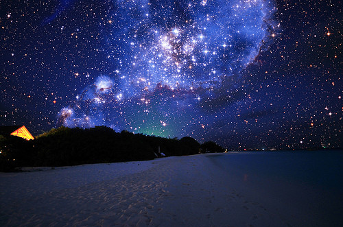 lights, night, pretty, sky, stars