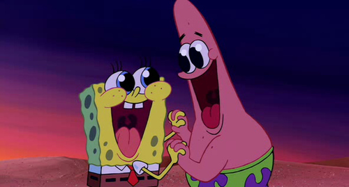 adorable, best friends, bffs, cartoon, cute, forever, funny, holding hands, lol, love, nickelodeon, patrick, smile, spongebob, spongebob squarepants, true