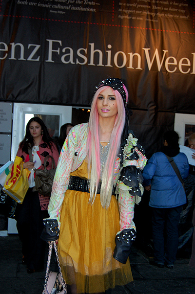 audrey, audrey kitching, barbie, fake, fashion, girl, hair, long hair, multicolor, not fake, pink, pink hair, pretty, took ny fashion week, udrey