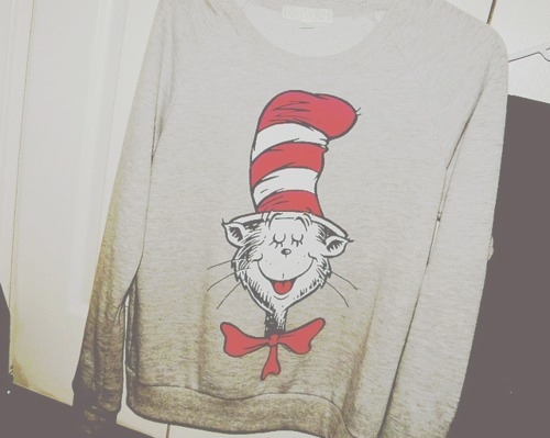 awesome, badass, cartoon, cat in the hat, fashion, film, film photography, girl, grey, grey marle, hipster, indie, jersey, jumper, merch, merchandise, photography, style, sweater, the cat in the hat, top-hat, tophat, vintage