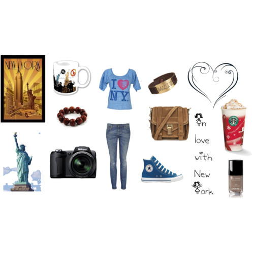 bag, bracelet, camera, chanel, chucks, converse, fashion, heart, john lennon, new york city, nikon, outfit, polyvore, starbucks, statue of liberty