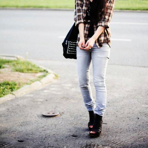 bag, checkered, fashion, girl, heels, jeans, photography, pumps, purse, shoes, style