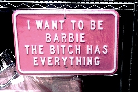 barbie, car, liscence plate, pink, quote