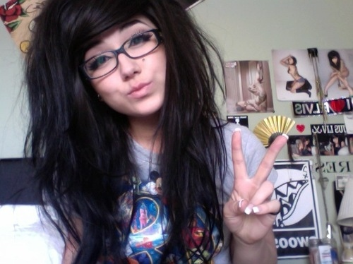 big hair, black hair, cute, girl, glasses