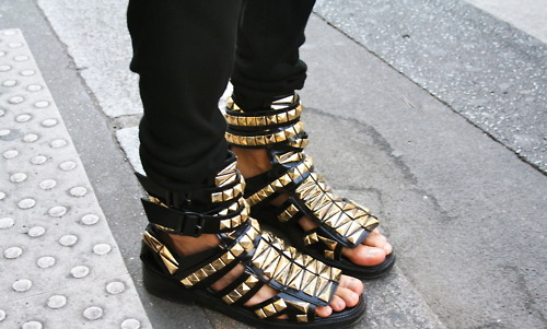 black, cute, fashion, flats, girl, girls, gold, i want, photography, rocker, sandals, shoes, straps, studs