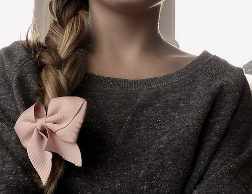 blonde, bow, braid, crew, grey, pink
