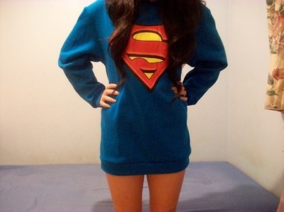 blue, fashion, girl, hipster, indie, jersey, jumper, long hair, merch, merchandise, model, photography, printed sweater, printed sweatshirt, skinny, style, super man, superhero, superman, superman sweater, superman sweatshirt, sweater, thin, vintage
