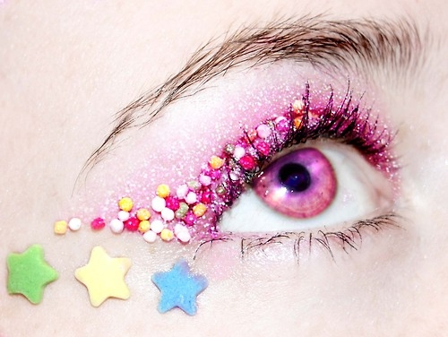 close, eye, eyeshadow, glitter, make-up