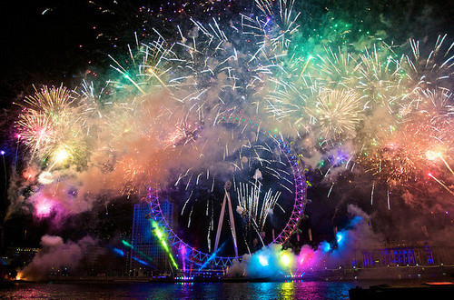 colorful, colors, fireworks, lights, london, london eye, night