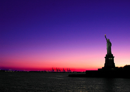 colour, new york, photography, statue of liberty, sunset