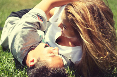 couple, cute, grass, kiss