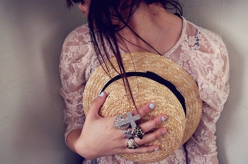 cross, fashion, girl, girly, hat, lace, nails, pretty, rings, style, top