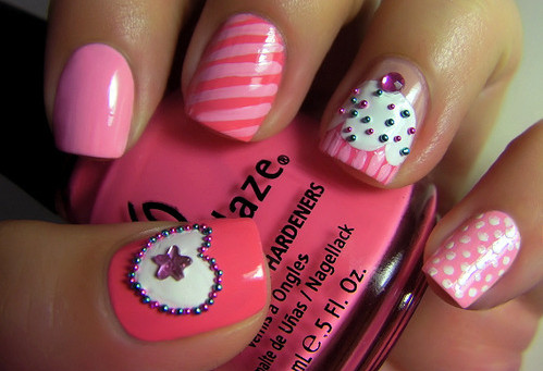 cupcakes, dots, heart, nailart, nailpolisch