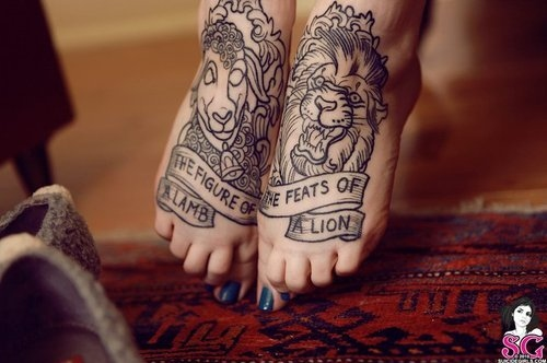 cute, lamb, lion, nails, tattoo - inspiring picture on Favim.com