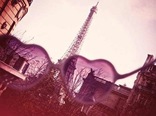 eiffel tower, fashion, french, heart, paris, pink, purple, sunglasses, vintage