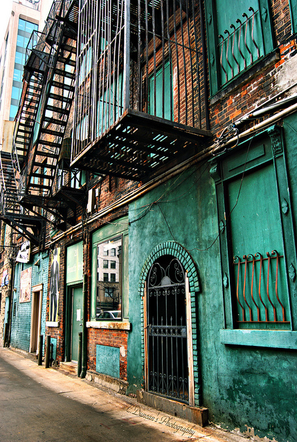 apartments, bars, doors, ghetto, house, old, photography, stairs, street, teal, vintage