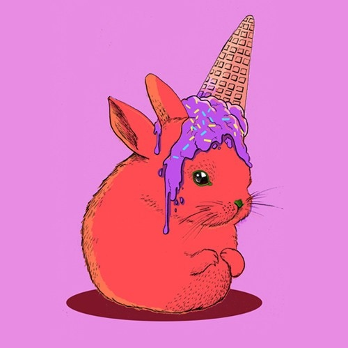 art, bunny, cone, drawing, ice cream