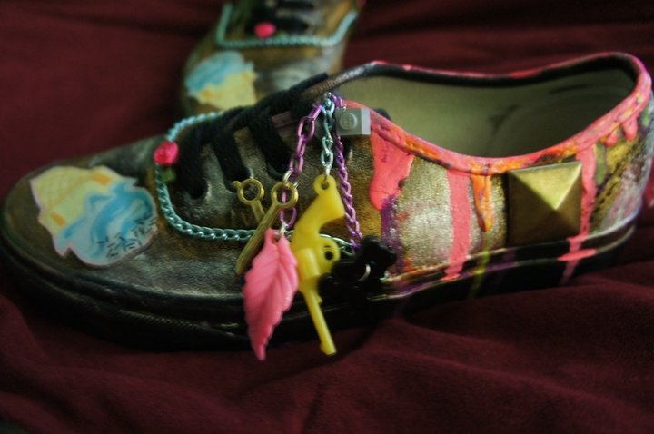 audrey kitching, big studs, bleeding paint, casandra gutierrez, custom shoes