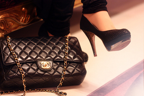 bag, black, chanel, fashion, gold