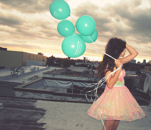 balloon, blue, cute, girl, photography - image #145203 on Favim.com