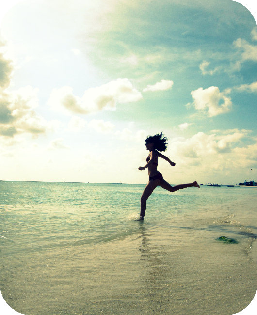 beach, blue, cute, girl, jump, pretty, run, sea, shadow, sky, sunrise, sunset