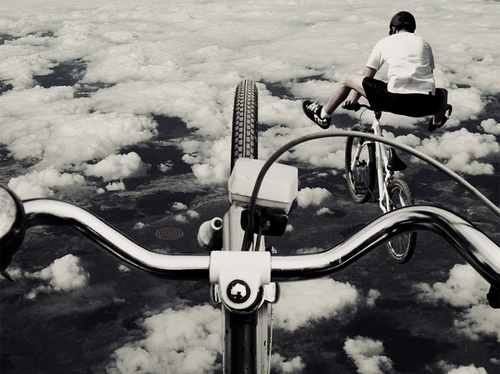 bike, boy, boys, clouds, flying, gravity, high, sky