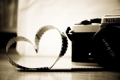 black and white, camera, film, heart, nikon