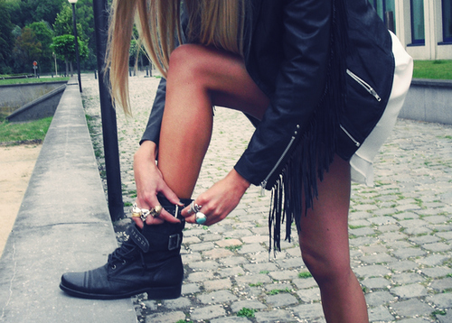 boots, fashion, fringe, girl, leather, leather jacket, legs, rings, rock, skinny, style, tan, zippers