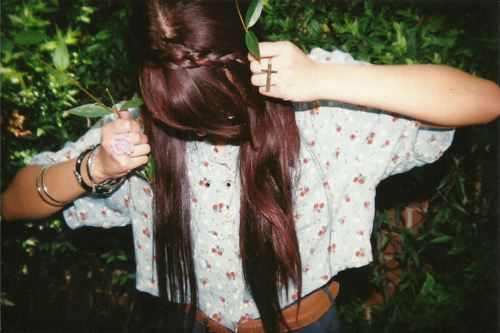 braid, brunette, girl, hair, long hair, love, nature, pattern, photography, pretty, shirt, skinny, thin