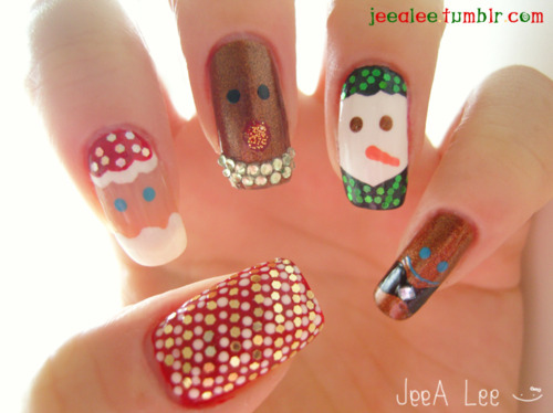 christmas, christmas nails, frosty, gingerbread, girl