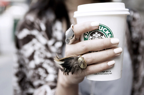 coffee, feather, girl, nails, pretty, ring, rings, starbucks
