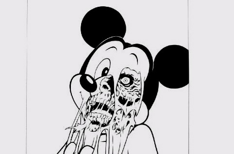 comic, dead, death, disney, disneyland, drawing, ears, eye, gore, mickey mouse, mouse, painting, zombie