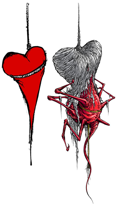 alex pardee, drawing, heart, illustration, logo