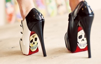 ankle, black, boots, catwalk, demi, fashion, girl, loubotin, peep, red, rock, shoes, skull, toe, white