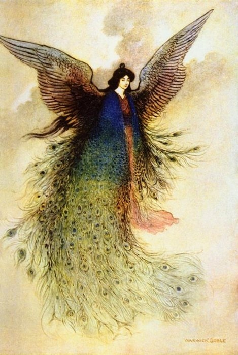 antique, art, fairy tale, feathers, girl, illustration, peacock, pretty, vintage, warwick goble, wing, wings, woman