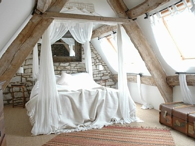 attic, attic bedroom, bed, bedroom, brick